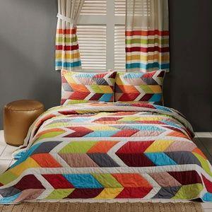 Rowan Queen Quilt Set 2 Shams Multicolored Modern